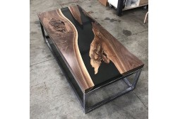 Lanata coffee live edge resin river table