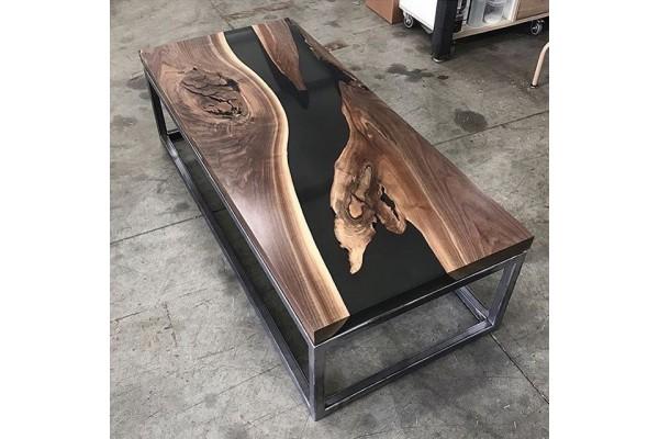 Lanata coffee live edge resin river table