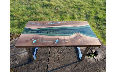 Yukon coffee live edge resin table