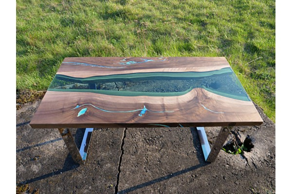Yukon coffee live edge resin table