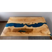 Poplar Dining Blue Epoxy River Table