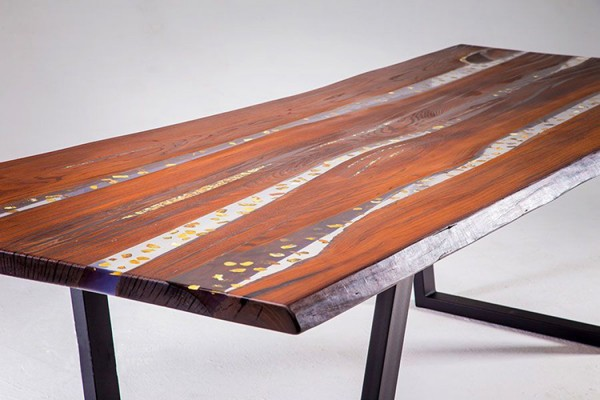 Amber dining river table