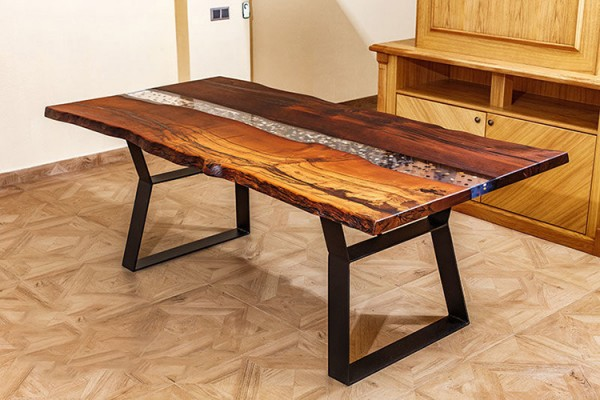 Laos dining live edge river table