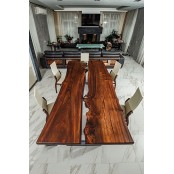 Ontario dining live edge resin river table