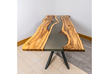Walnut Dining Black Epoxy River Table
