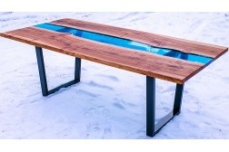 Bangor dining resin river table