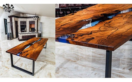 Newport dining epoxy resin river table