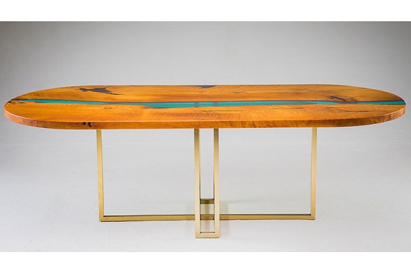 Oval dining live edge river table