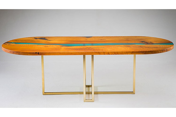 Oval Wood Dining Table With Epoxy Resin By Royal Oakland Low