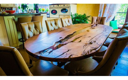 Worcester dining live edge river table