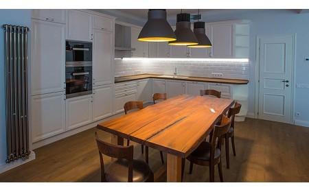 York live edge oak dining table