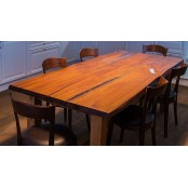 York live edge oak dining table